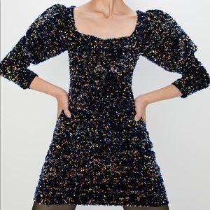 Zara velvet limited edition sequin dress